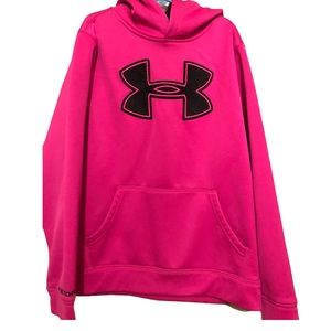 UNDER ARMOUR EUC GIRLS PINK HOODIE TOP SIZE M